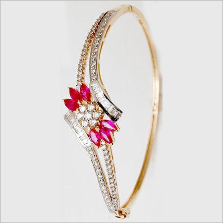 Marquise Shape Ruby Baguette Diamond Bangle
