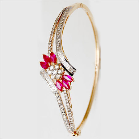 Marquise Shape Ruby Baguette Diamond Bangle