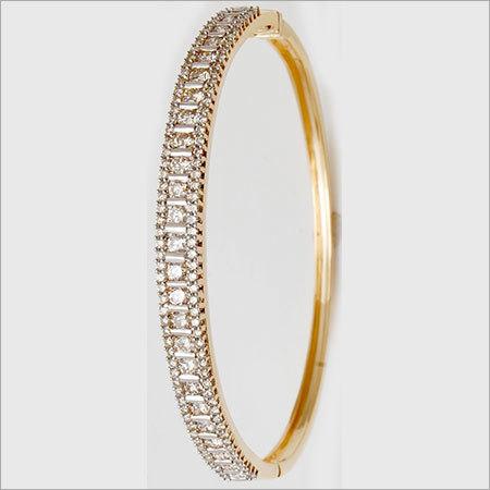 Round Brilliant Diamond Solid Gold Bracelet Bangle