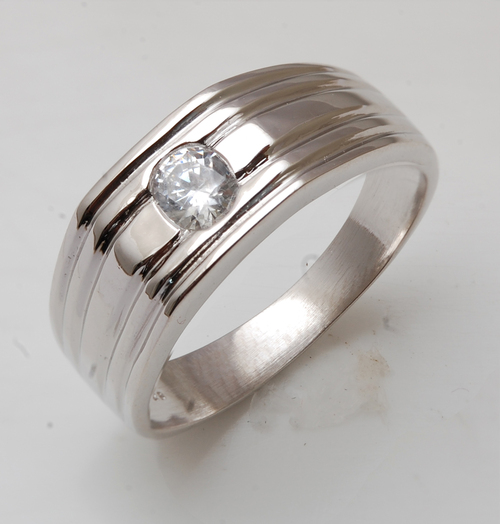 Mens silver ring, silver rings for men with cz, wh