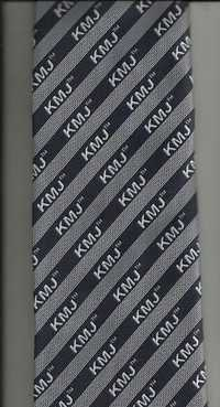 Grey Black white Logo Printed Corporate Ties