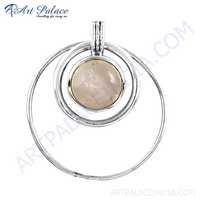 Lastest Luxury Rose Quartz Gemstone Silver Pendant