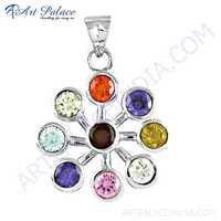 Rocking Flower Style Multi Gemstone Silver Pendant