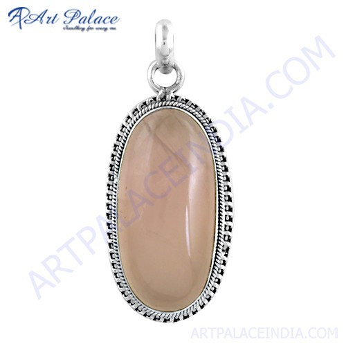 Indian Touch Rose Quartz Gemston Silver Pendant
