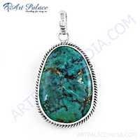 Hot World Large Turquoise Gemstone Silver Pendant