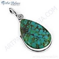 Famous Style Turquoise Gemstone Silver Pendant