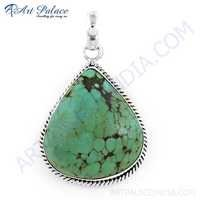 Indian Turquoise Gemstone Silver Pendant, 925 Sterling Silver Jewelry