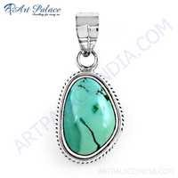 Indian Touch Turquoise Gemstone Silver Pendant