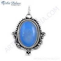Handcrafted Blue Chalcedony Gemstone Silver Pendant