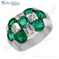 Charming Green & White Cubic Zirconia Gemstone Silver Ring