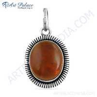 Indian Touch Amber Gemstone Silver Pendant, 925 Sterling Silver Jewelry