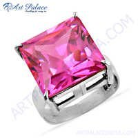 Lastest Luxury Pink Cubic Zirconia Gemstone Silver Ring