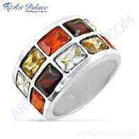 Rocking Multi Color CZ Gemstone Silver Ring