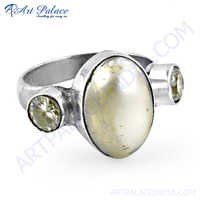 Famous Style Shell & Cubic Zirconia Gemstone Silver Ring