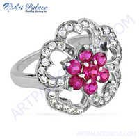 Pretty Flower Shape Silver Ring With Red & White Cz