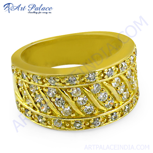 Party Wear Gold Plated Silver Ring With Cubic Zirconia