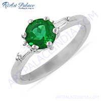 Royal Green & White Cubic Zirconia Gemstone Silver Ring