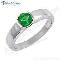 Charming Green Cubic Zirconia Gemstone Silver Ring