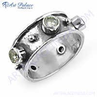 Attractive Cubic Zirconia Gemstone Silver Ring