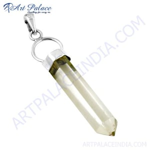 Pencil Style Crystal Gemstone Silver Pendant, 925 Sterling Silver Jewelry