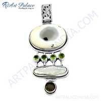 Valuable Multi Gemstone Silver Pendant, 925 Sterling Silver Jewelry