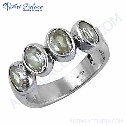 Impressive Cubic Zirconia Gemstone Silver Ring