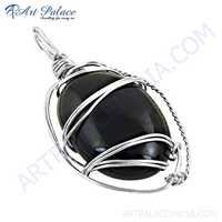 Hot Black Onyx Gemstone Silver Pendant, 925 Sterling Silver Jewelry