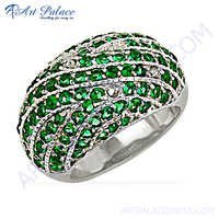 Handcrafted Green Cubic Zirconia Gemstone Silver Ring