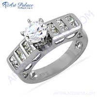 Gracious Fashionable Cubic Zirconia Gemstone Silver Ring