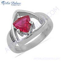 Triangle Style Pink Cubic Zirconia Gemstone Silver Ring