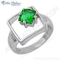 Square Shape Green Cubic Zirconia 925 Sterling Silver Ring