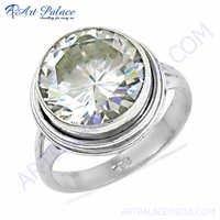 Classy Cubic Zirconia Gemstone Silver Ring