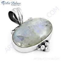 Wholesale Rainbow Moonstone Gemstone Silver Pendant