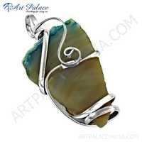 Famous Designer Rainbow Classic Gemstone Silver Pendant