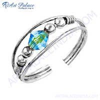 Latest Fashionable Blue Cubic Zirconia Gemstone Silver Ring