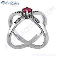 Rocking Style Pink & White Cubic Zirconia Gemstone Silver Ring