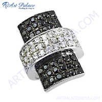 Graceful Glamour Black & White Cubic Zirconia Silver Ring