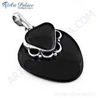New Arrival 925 Sterling Silver Black Onyx Gemstone Pendant