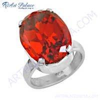Charming Orange Cubic Zirconia Gemstone Silver Ring