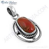 Ethnic Designer Coral Gemstone Silver Pendant, 925 Sterling Silver Jewelry