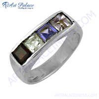 Excellent New Fashion Shining Multi Gemstone Silver Ring