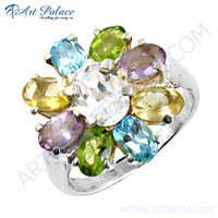 Pretty Flower Style Multi Gemstone Silver Ring