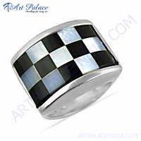 Inlay Gemstone Silver Ring