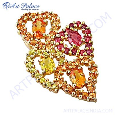 Charming Multi Cubic Zirconia Gemstone Silver Gold Plated Pendant