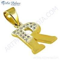 Fashion Jewelry CZ Gold Plated Silver Initial Pendant