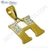 Initial 'H' Designer Cubic Zirconia Gemstone Silver Pendant