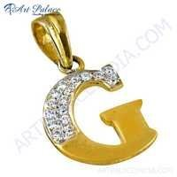 Wholesale CZ Gold Plated Silver Initial Pendant