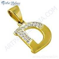 D Style Initial CZ Gemstone Gold Plated Silver Pendant