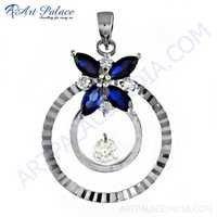 Best Jewelry Supply Inkzirconia & Cubic Zirconia Gemstone Silver Pendant