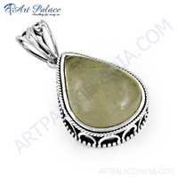 Indian Touch Golden Rutil Gemstone Silver Pendant